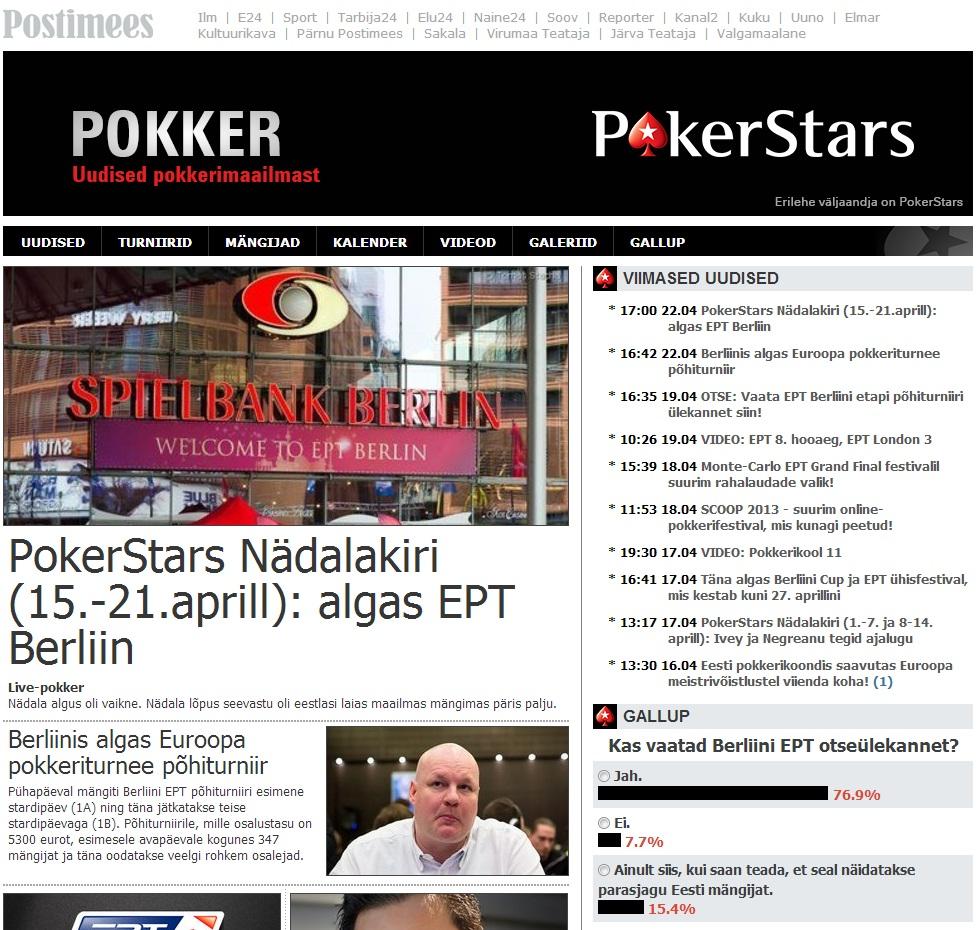 PokerStars.ee rubriik Postimehes
